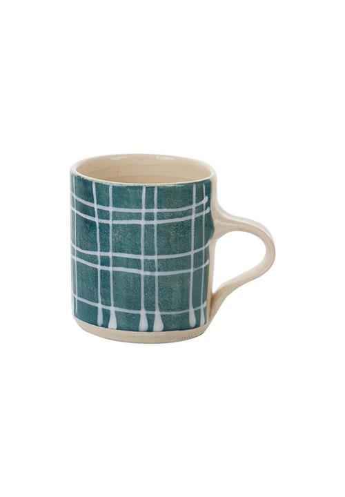 Teal Grid Espresso Mug